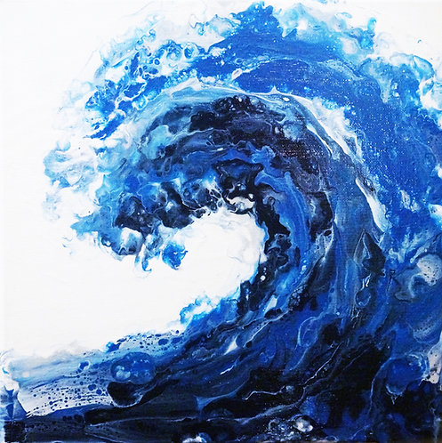 acrylic fluid wave painting abstract big square wall art interior decor canvas blue white silver waves ocean beach summer