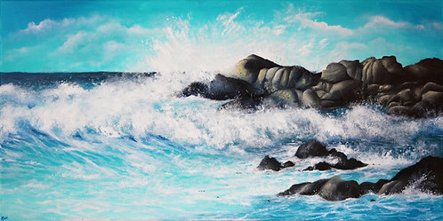 Etsy seascape oil painting of waves crashing against rocks on canvas
