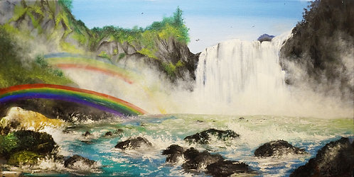 etsy Beach waterfall ocean sunset oil landscape seascape painting on canvas interior decor wall art cliff rocks rainbow 15x30
