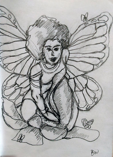 Butterfly Woman Afro Drawing