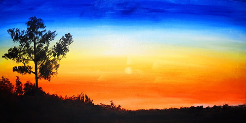 sunset silhouette landscape painting 10x20 interior decor wall art blue orange yellow black