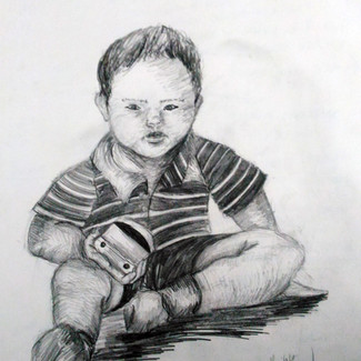 """""""Toddler with Toy"""" 8.5x11 in."""