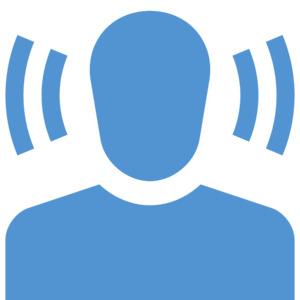 Symbol showing a person hearing