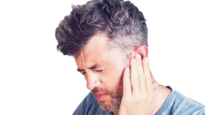 man touching ear in pain, ringing in ear