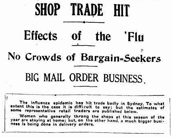 A newspaper clipping from 1919 detailing the impact of Spanish flu