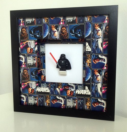 a star wars themed frame with decorative comic mount and a choice of iconic figures choose from r2 d2 c 3p0 hans solo chewbacca darth vader a