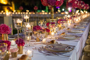 Elegant table set with glasses decorated