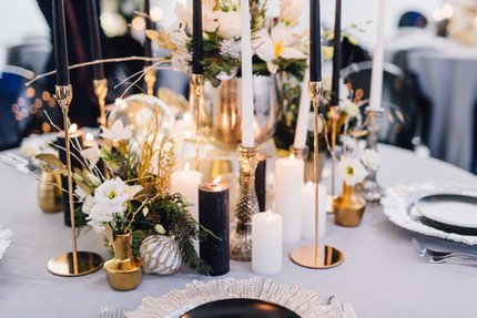Closeup of reception table decorated for