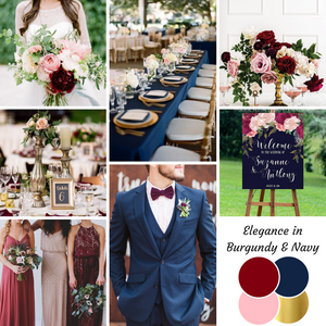 Elegance in burgundy and navy wedding mood board designed by Beauty & the Budget Events