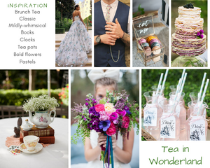 Tea in Wonderland wedding inspiration mood board designed by Beauty & the Budget Events