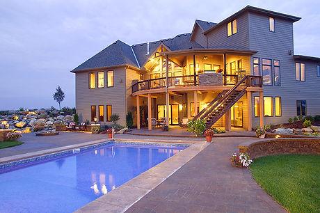 Backyard patio and swimming pool