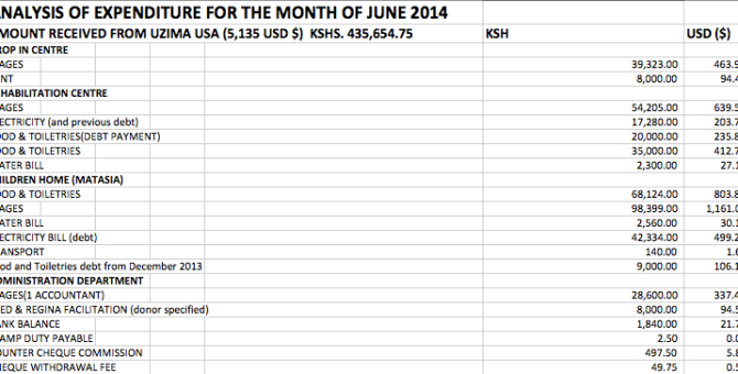 June Analysis of Expenditures
