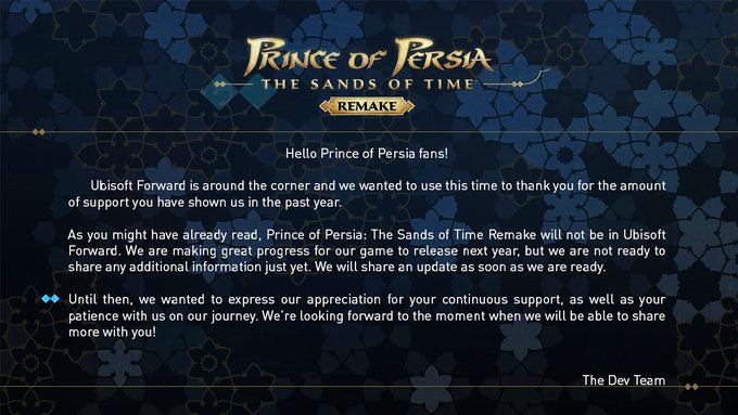 Don't expect Prince of Persia at E3 this year