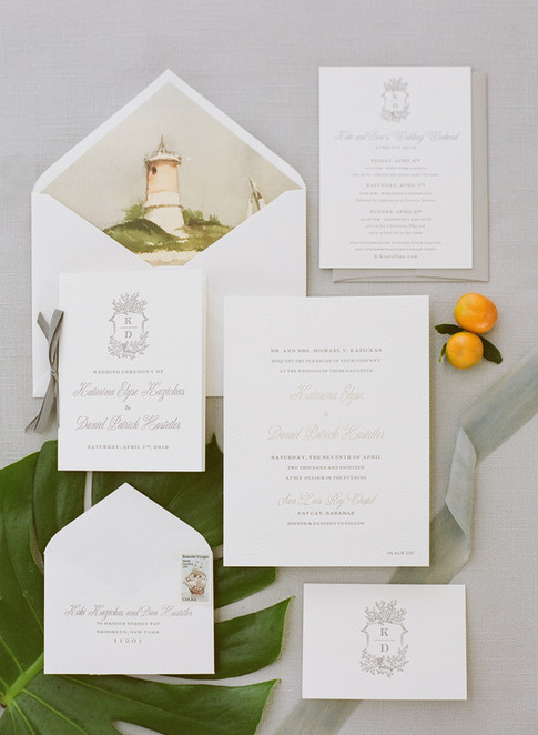 Custom Letterpress Wedding Invitation Suite