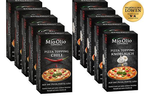 Mioolio Pizza Toppping I Gewürzöle portioniert I 50 x Chili + 50 x Knoblauch