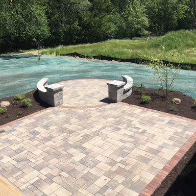 Paver Patio and Hydromulch
