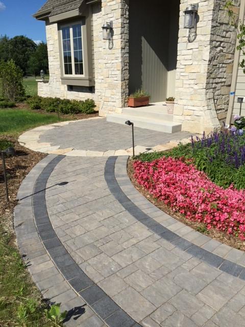 Colorful paver walkway