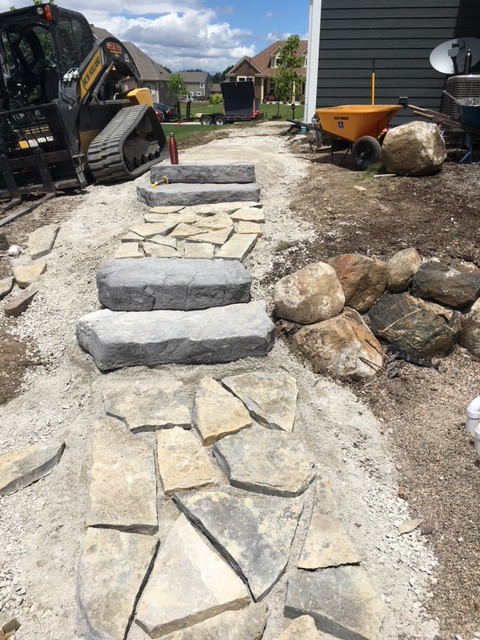 Natural stone paver walkway