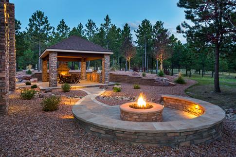 Luxury backyard paver walkway