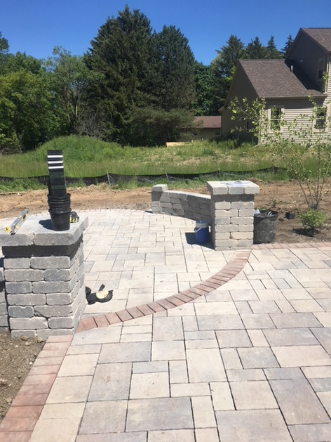 Paver Pillars and Garden Wall