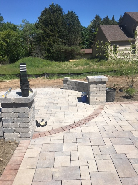 Paver Pillars and Garden Wall