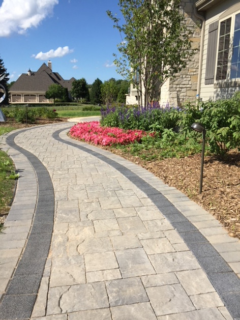 Earth tone paver walkway