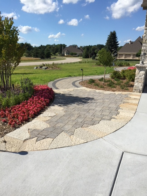 Pavers and concrete patio together