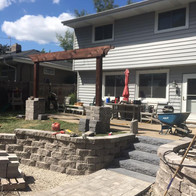 paver patio, retaining wall and steps