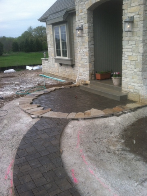 Dark grey paver walkway