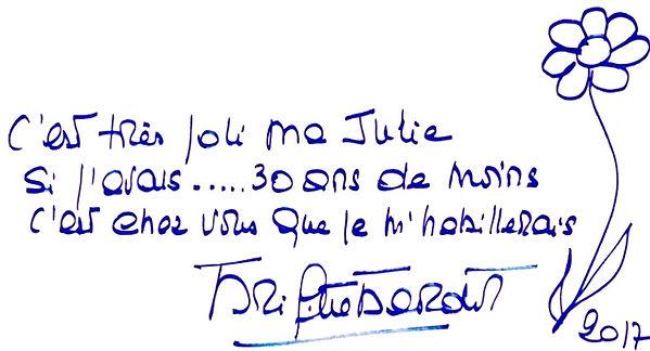 Dédicace de Brigitte Bardot pour Julie et les Tropeziennes.