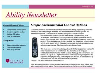Newsletter: February 2001