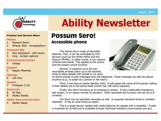 Newsletter: August 2009