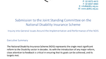 Submission to the Joint Parliamentary Committee on the NDIS