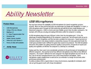 Newsletter: November 2000