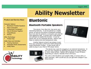 Newsletter: August 2006