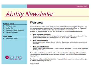Newsletter: October 2000