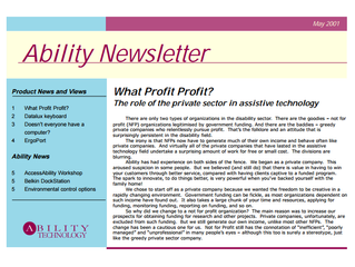 Newsletter: May 2001