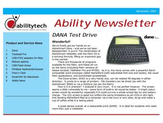 Newsletter: November 2002