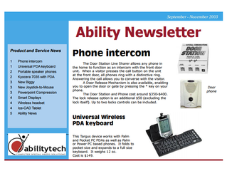 Newsletter: November 2003