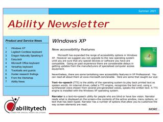 Newsletter: November 2001