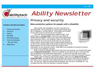 Newsletter: June 2003