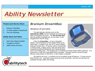 Newsletter: October 2001