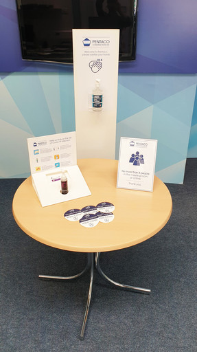 Suite of Covid Management Displays, Stickers and Signage for Pentaco Construction