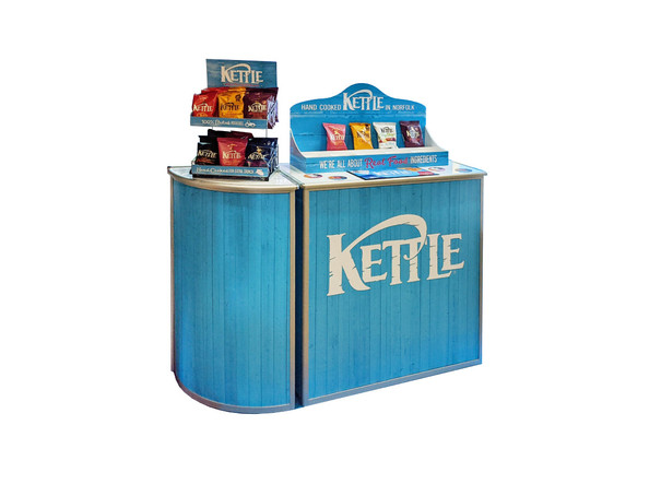 Product Display Counter and Sampling Tray for Kettle Chips