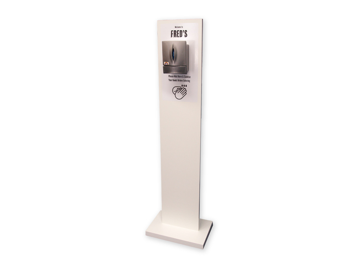 Image Display Hand Sanitiser Station with Graphics in White