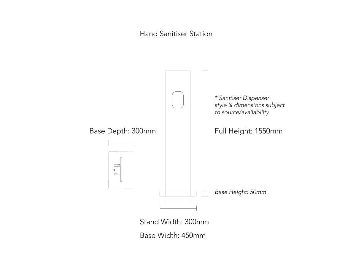 Branded Hand Sanitiser Station Product Dimensions
