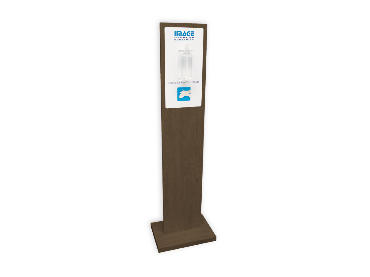 Image Display Hand Sanitiser Station with Graphics in Wenge
