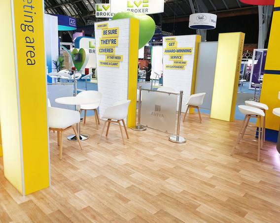 Open Plan Exhibition Stand Meeting Booths Aviva at BIBA 2019
