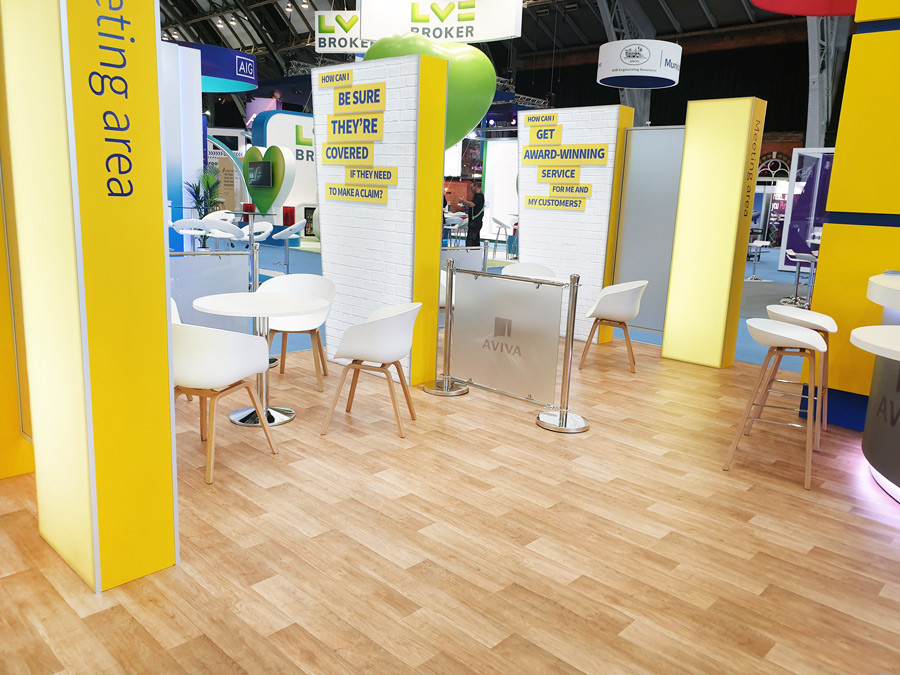 Open Plan Exhibition Stand Meeting Booths Aviva at BIBA 2019