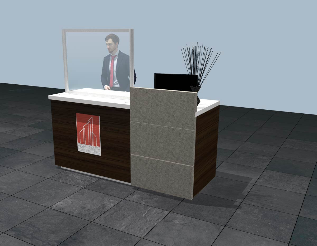COVID Screen for Reception Desk or Counter Visualisation